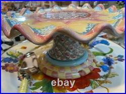 NEW! Mackenzie-Childs Keukenhof Taylor Pedestal Ruffled Cake Plate Handmade