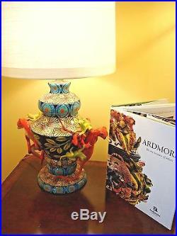 NWT ARDMORE CERAMIC Pair (2) LAMPS w MONKEYS Original FINE CERAMIC ART, $20K