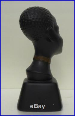 Nubian Blackamoor Bust 1950 Era Hagenauer Walter Bosse Ceramic Bust Art Deco