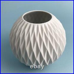 OP ART Matt Thomas Porcelain Vase Germany Modernist 60s 70s Angular Ball MCM