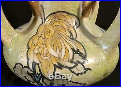 OVERSIZE SIGNED AMPHORA ART NOUVEAU ART POTTERY VASE CIRCA1905 16.5 inches tall