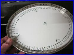 Old Antique Villeroy & Boch Ceramic and Nickel Plate Surround Serve Tray Dresden