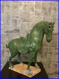 Orientalist Rare Antique Asian Art Ceramic Horse Pottery Horse Sculpture