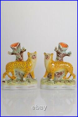 Original Victorian Staffordshire Figures of A Pair of Leopard Spill Vases c1850