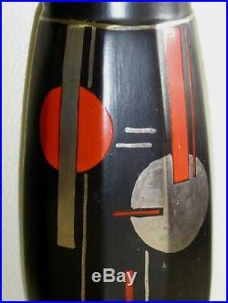 Pair Large Antique 14 Inches Ceramic Art Deco Black Geometric Vases Silver