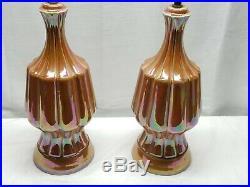 Pair of Vintage Mid Century Modern Ceramic Iridescent Glaze Art Pottery Lamps