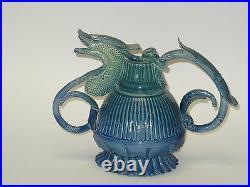 Persian Master Artist Jafar Shoja Dysfunctional Teapot Sculpture Glazed Pottery