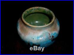 Pewabic Exceptional Early Arts & Vase Blue, Green & Red Iridescent Glaze MINT