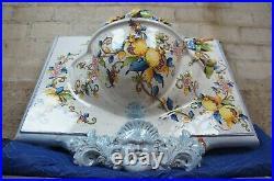 Polychrome Ceramic Italian Wall Fountain Figural Florentine Tuscan Pottery