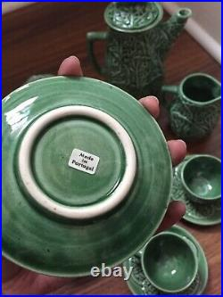 Portugal Green Cabbage Leaf Coffee Set 6 Espresso Cup Saucer Creamer Sugar Pot