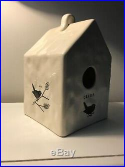 RAE DUNN Chirp Square Birdhouse Bank by Magenta FTD Ceramic Art Pottery RARE