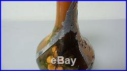 RARE 19th C. ROOKWOOD ART POTTERY 9.25 SILVER OVERLAY EWER, MARY NOURSE c. 1883