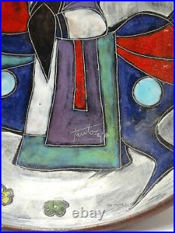 RARE 50's MARCELLO FANTONI (ITALY) MODERNIST LEATHER CLAD CERAMIC BOWL 11x8