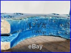 RARE Bitossi Rimini Blue Aldo Londi Italian Art Pottery Cat Mid MOD Ceramic