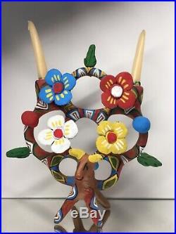 RARE Heron Martinez'Tree of Life' Bull Candleabra Pottery Ceramic Folk Art