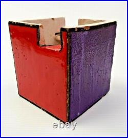 RARE Rosenthal Netter Raymor Pottery Bitossi Londi Multi-Color SQUARE BOX ITALY