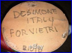 RARE Vietri DeSimone Pottery Art Vase Fish centerpiece Italy Large Numbered