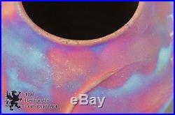 Raku Iridescent Copper Lidded Vessel Signed Art Pottery Ceramic Vase Urn Jar