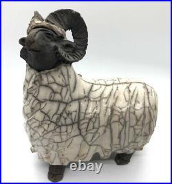 Raku Ram sculpture studio pottery ceramics. Signed. Rare. Aries