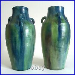 Rare 1930's Belgium Art Pottery Art Deco Nouveau Drip Glaze Ceramic Vases A Pair