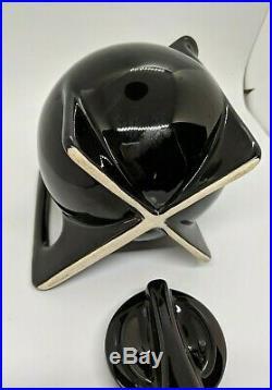 Rare 1930's German Art Deco Bauhaus Black Ceramic Teapot
