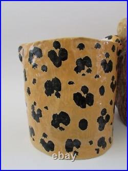 Rare 60's Mid Century Italian Ceramic Leopard & Lion Planters for Neiman Marcus