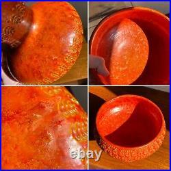 Rare Aldo Londi Bitossi Large Compote Crystal Glaze Italian Red Orange Pottery