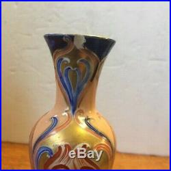 Rare Early 1900's Pair Moorcroft Macintyre Vases Art Nouveau Gold/blue