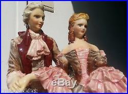 Rare Huge Carlo Mollica Italy Handpainted Ceramic Figurine Couple Art Deco