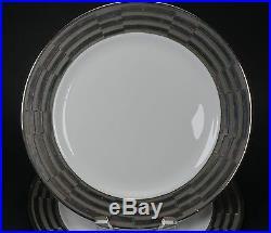 Rare Jean Luce Paris France Rare Art Deco Heavy Silver Border 7 Dinner Plates