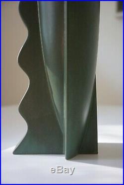 Rare, Mint, Claude Dumas Vintage, French Art Deco, Post Modern, Matte Green Vase