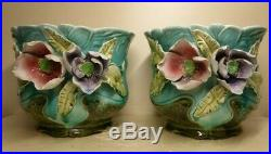Rare Pair Majolica Raised Flowers Art Nouveau Planters Ceramic Barbotine