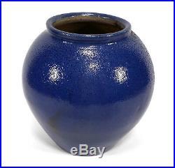 Rare Vintage Cb Masten Auman North Carolina Nc Art Pottery Vase Blue Salt Glaze