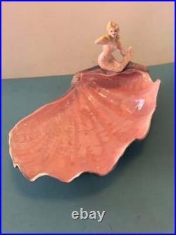 Rare Vintage Florence Ceramics Pasadena Figurine Mermaid Shell Bowl