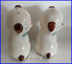 Rare Vintage Shawnee Art pottery Puppy Dog Salt Pepper Shakers with Sticker