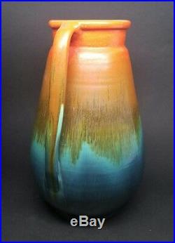 Rare Vintage Stangl RAINBOW SUNBURST #1327 11-1/2 TWO HANDLE VASE Art Pottery