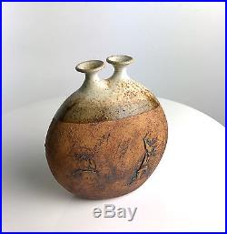 Rare Warren Hullow Studio Art Pottery Stoneware Weed Pot Vessel Vase Mid Century