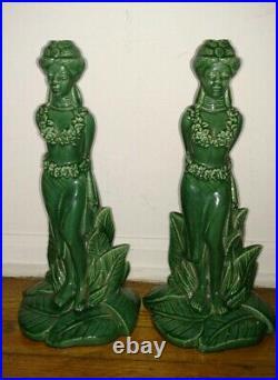 Rare pair vintage signed Gonder ceramic arts Hawaiian woman figures candlestick
