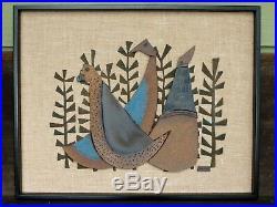 Raul Coronel Mid Century Modern Ceramic Three Birds Wall Art 28 3/4 x 22 3/4