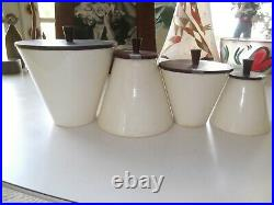Raymor Italy Ceramic MID Century Modern Ceramic /wood Canister Set Wow