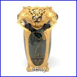 Reduced! Ernst Wahliss Art Nouveau Amphora Vase, Circa 1880-1910