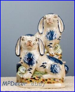 Reproduction Staffordshire Rabbit Bunny Hare Pair Figurines Blue And White