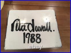 Rita Duvall Signed 1988 Rare Postmodern Art Deco Pop Art Pottery Vase 13.5