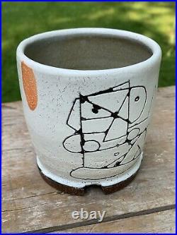 Robert Brady studio pottery origami cup with geometric figurative illustration