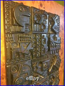 Ron Hitchins Hitchens MidCentury Modern 1960s Ceramic Wall Plaque Brutalist Art