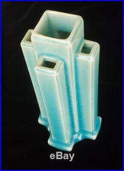 Rookwood Art Deco 1930 Turquoise Sky Blue Skyscraper Vase 6126