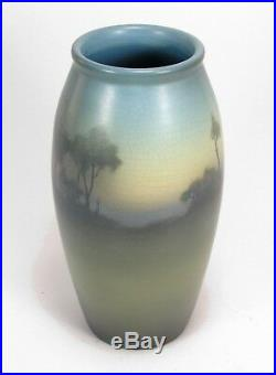 Rookwood Pottery 12.5 Lenore Asbury scenic matte vellum blue green arts & craft