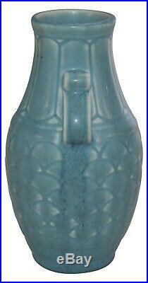 Rookwood Pottery 1930 Matte Blue Art Deco Handled Ceramic Vase 6096