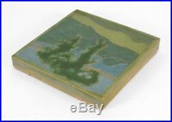 Rookwood Pottery 6x6 landscape tile matte green arts & crafts