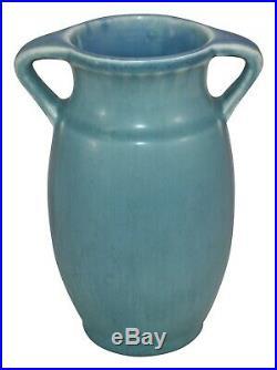 Rookwood Pottery Matte Blue Handled Arts and Crafts Ceramic Vase 2557